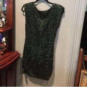 Alice & Olivia emerald green sequined dress